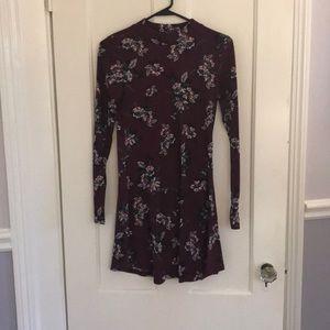 High neck floral flare dress
